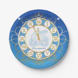 Cinderella Almost Midnight Blue Party Plates 7 Inch Paper Plate
