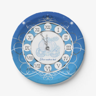 Cinderella Almost Midnight Silver & Blue Party 7 Inch Paper Plate