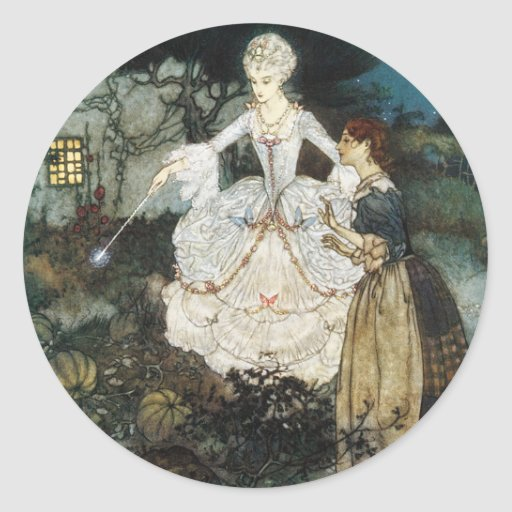 Cinderella and Fairy Godmother Round Sticker