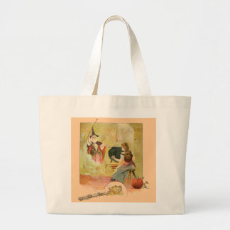 Cinderella And Her Fairy God Mother Large Tote Bag