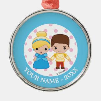 Cinderella and Prince Charming Emoji Add Your Name Christmas Ornament
