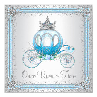 Cinderella Blue Princess Birthday Party Card