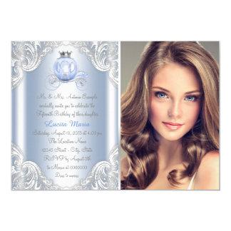 Cinderella Blue Princess Quinceanera 13 Cm X 18 Cm Invitation Card