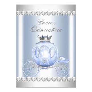 Cinderella Blue Silver Princess Quinceanera 13 Cm X 18 Cm Invitation Card