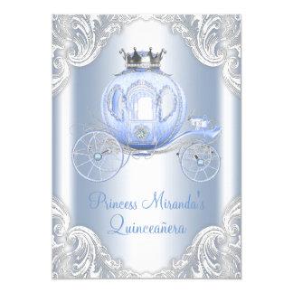 Cinderella Blue Silver Princess Quinceanera 13 Cm X 18 Cm Invitation Card