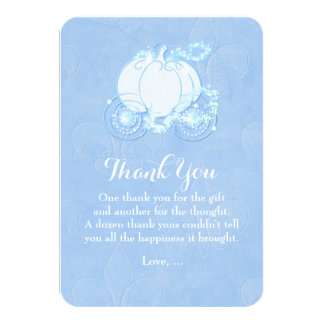 Cinderella Carriage Blue Fairytale Thank You Card