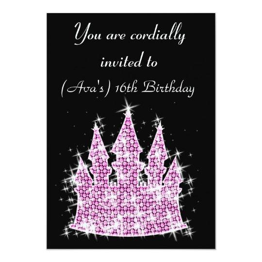 Cinderella Castle Rhinestone Birthday/Sweet 16 Card