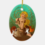 Cinderella Double-Sided Oval Ceramic Christmas Ornament