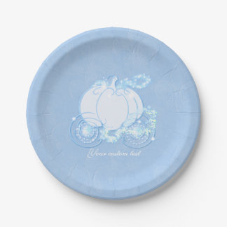 Cinderella Fairytale Carriage Blue Party Plates 7 Inch Paper Plate