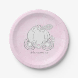 Cinderella Fairytale Carriage Pink Party Plates 7 Inch Paper Plate