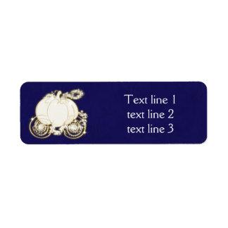 Cinderella Gold Carriage Royal Blue Address Labels