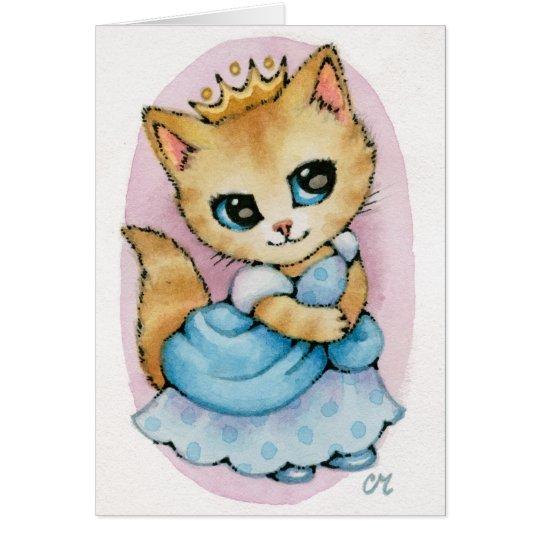 Cinderella Kitten - Cute Fairytale Cat Art Card