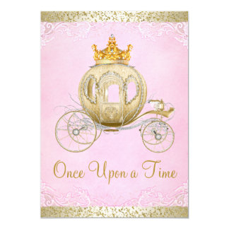 Cinderella Pink Once Upon a Time Princess Birthday 13 Cm X 18 Cm Invitation Card
