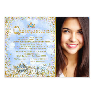 Cinderella Princess Carriage Photo Quinceanera 13 Cm X 18 Cm Invitation Card