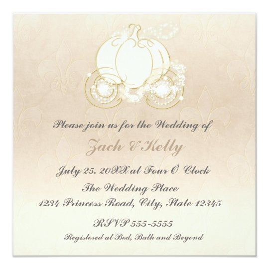 Cinderella Princess Carriage Wedding Invitation