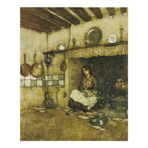 Cinderella Sitting in the Ashes by Dulac Print