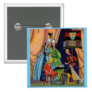 Cinderella, the prince and the glass slipper 15 cm square badge