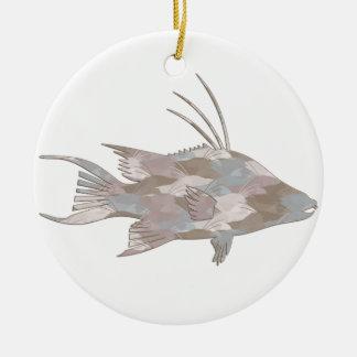 Cindy's Camo Hogfish Round Ceramic Decoration