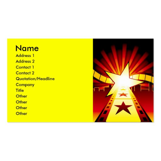 CINEMA7, Name, Address 1, Address 2, Contact 1,... Pack Of Standard Business Cards