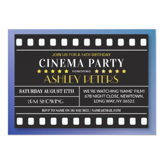 Cinema Birthday Party Any Age Theatre Film Invite