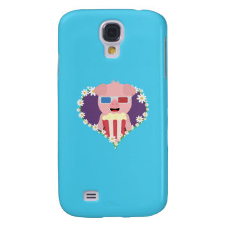 Cinema Pig with flower heart Q1Q Galaxy S4 Case