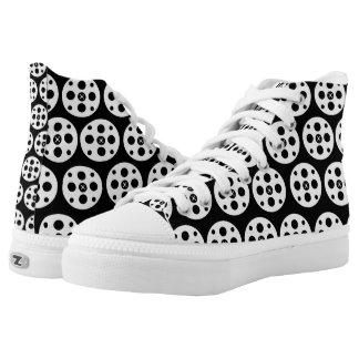 Cinema roll high tops (black&white) printed shoes