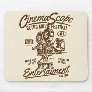 Cinema Scope Classic Retro Hollywood Camera Motion Mouse Mat
