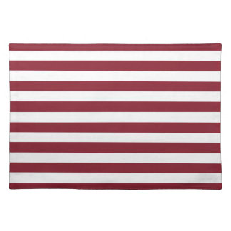 Cinnabar Red Maroon And Large White Stripes Place Mat
