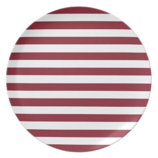 Cinnabar Red Maroon And Large White Stripes Dinner Plates