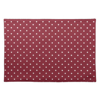 Cinnabar, Red, Maroon And Small White Polka Dots Placemats