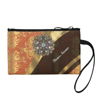 Cinnamon and pretty damask monogrammed coin purse