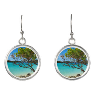 Cinnamon Bay Tropical Silver Drop Earrings
