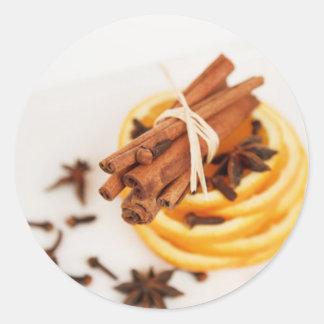 Cinnamon Clove Orange Classic Round Sticker