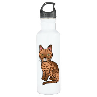 Cinnamon Coat Color Ocicat Breed Cat Illustration 710 Ml Water Bottle