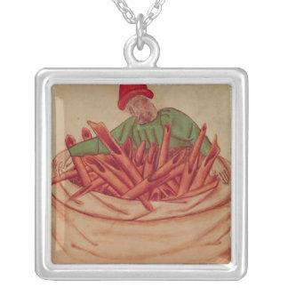 Cinnamon Merchant, from 'Tractatus de Herbis' Silver Plated Necklace