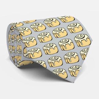 Cinnamon Roll Honey Bun Cartoon Design Funny Grey Tie