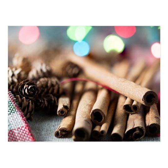 Cinnamon Sticks in Festive Setting Postcard