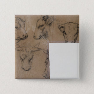 Cinq Croquis de tete de vache (pencil on paper) 15 Cm Square Badge