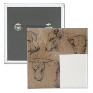 Cinq Croquis de tete de vache (pencil on paper) 15 Cm Square Badge