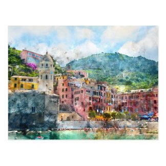 Cinque Terre Italy in the Italian Riviera Postcard
