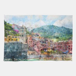 Cinque Terre Italy in the Italian Riviera Tea Towel