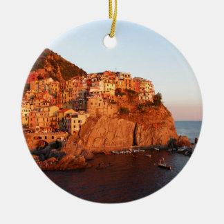 Cinque Terre, Italy Round Ceramic Decoration