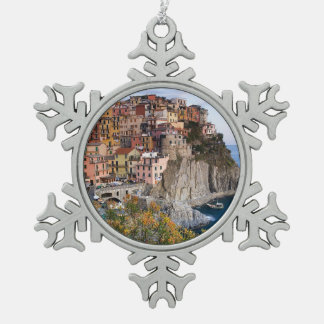 Cinque Terre, Italy Snowflake Pewter Christmas Ornament