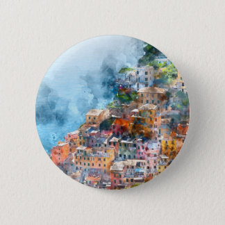 Cinque Terre Italy Watercolor 6 Cm Round Badge