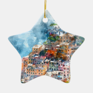 Cinque Terre Italy Watercolor Ceramic Star Decoration