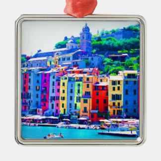Cinque Terre La Spezia Silver-Colored Square Decoration