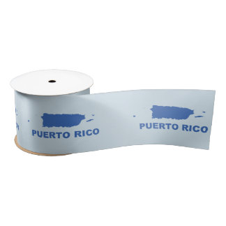 Cinta: Puerto Rico Map Satin Ribbon