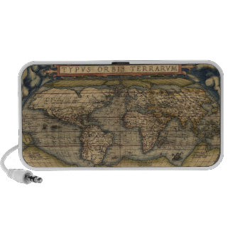 Circa 1570 Ortelius World Map Notebook Speakers