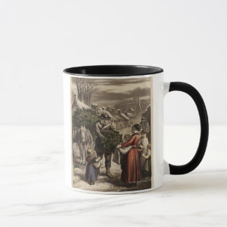 Circa 1850: A carter delivering holly Mug