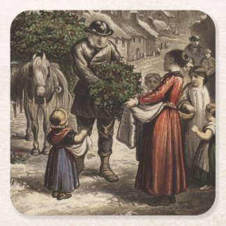Circa 1850: A carter delivering holly Square Paper Coaster
